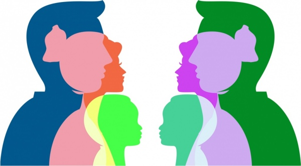 600x332 Family Background Colorful Silhouette Human Icons Free Vector