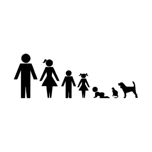 640x640 19.57.1cm Creative Cartoon Family Car Stickers Stylish Motorcycle