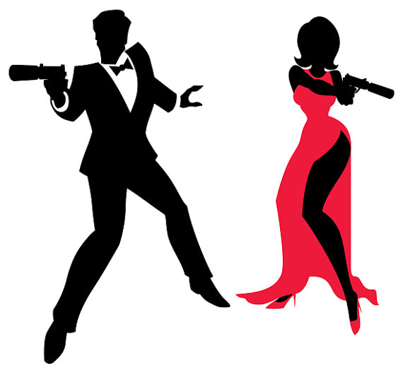 570x521 Spy Couple Vector Cartoon Illustration. Secret Agent