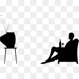 260x260 Vector Cartoon Family Members Sit Together Watching Tv, Vector