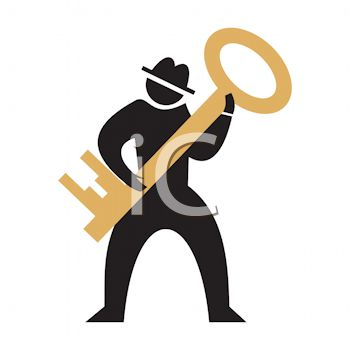 350x350 Silhouette Of A Man Holding A Key Icon
