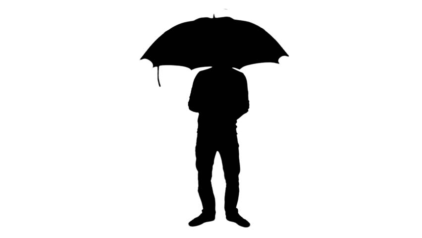852x480 Umbrella Silhouette Standing Man