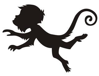 320x244 Monkey Silhouette V8 Decal Sticker