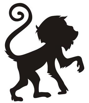 285x330 Monkey Silhouette V9 Decal Sticker