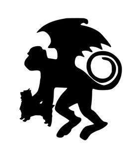268x300 Adorable Flying Monkey Silhouette Mascot Decal Visions On Vinyl