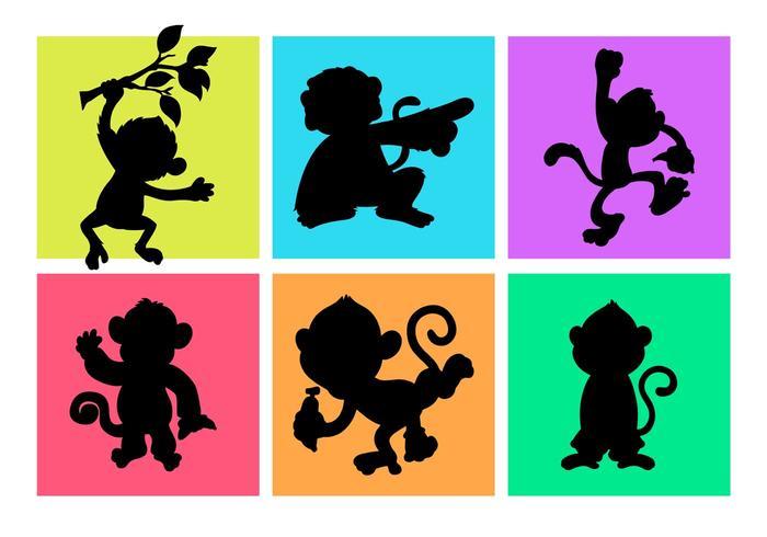 700x490 Cartoon Monkeys Silhouettes Free Vector