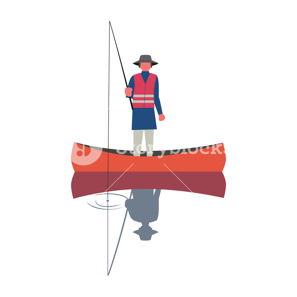 1000x1000 Fishing Man Icon. Angling Person With Rod In A Boat On Calm Lake