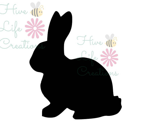 570x517 Bunny Rabbit Silhouette Instant Download Rabbit Silhouette