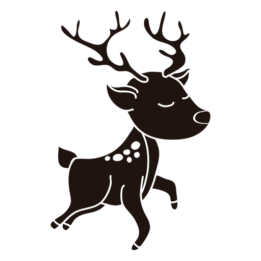 512x512 Reindeer Cartoon Silhouette Jumping 27