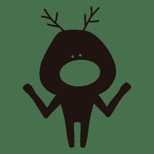 512x512 Reindeer Cartoon Silhouette Shrugging 86