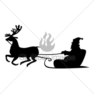 325x325 Santa Claus Riding A Sleigh With Reindeer Gl Stock Images