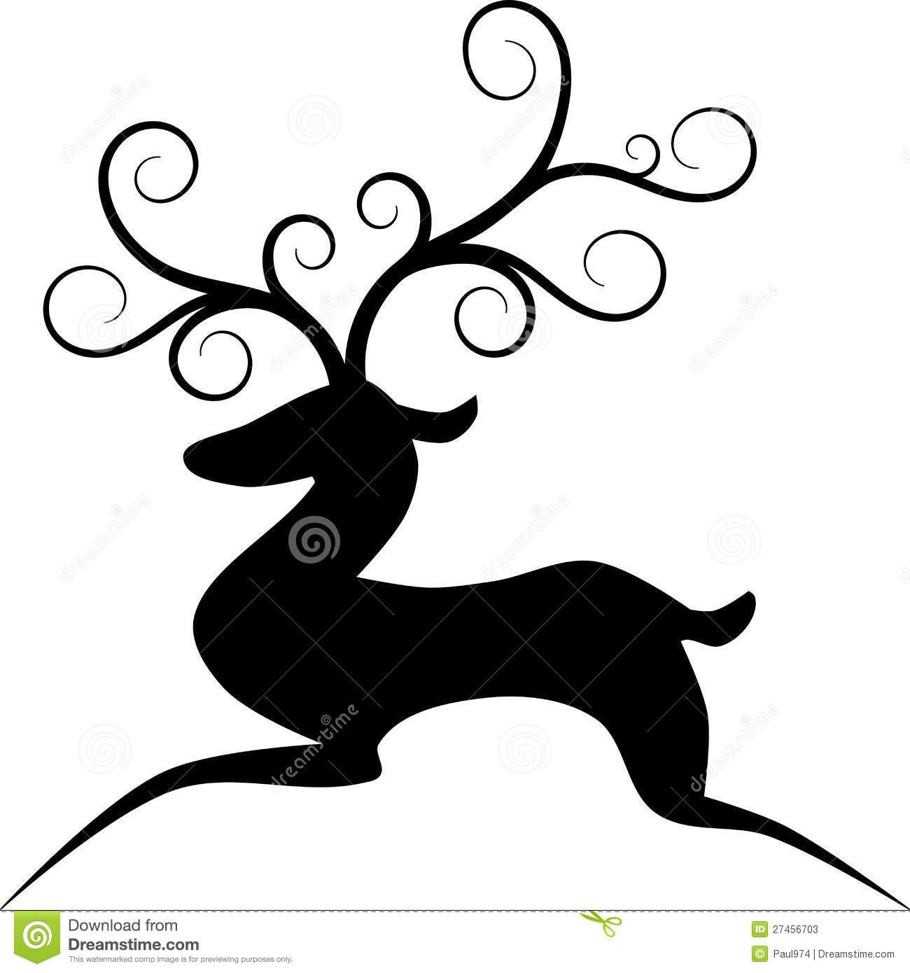 1300x1390 Reindeer Silhouettes Simple Illustration Stylized Reindeer