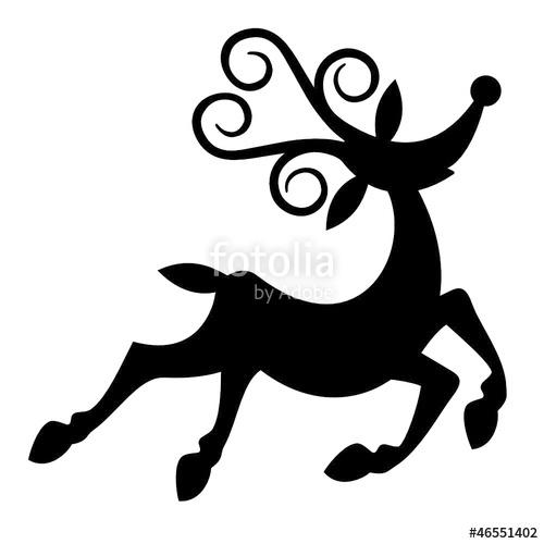 500x500 Cartoon Style Christmas Reindeer Black Silhouette. Stock Image