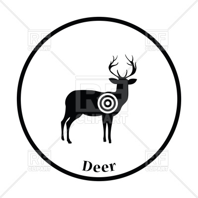 400x400 Deer Silhouette With Target Icon Royalty Free Vector Clip Art