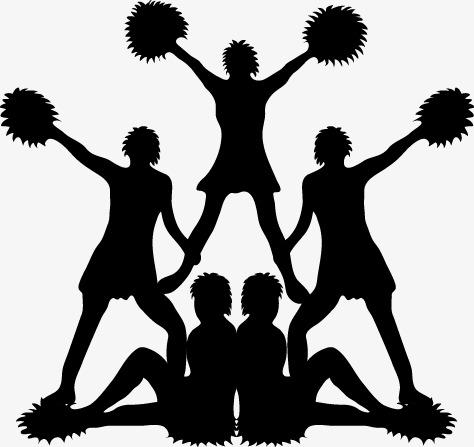 474x447 Cartoon Silhouette Cheerleaders, Cartoon, Cheerleaders, Sketch Png