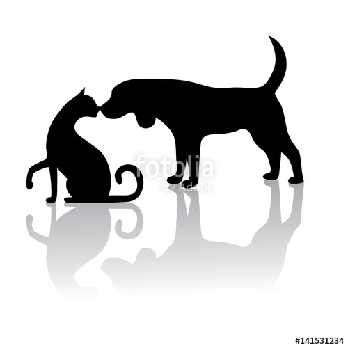 500x500 Dog Cat Touching Noses Silhouette. Large Group Of Sitting