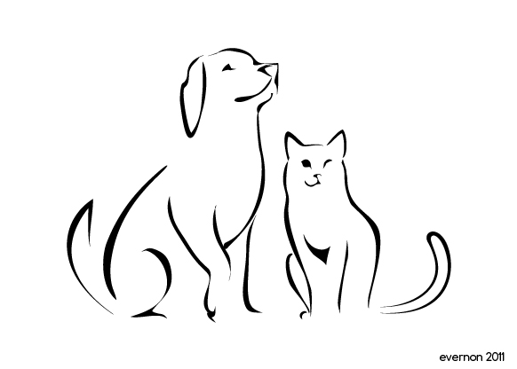 582x416 Dog And Cat Clipart In A Line Collection