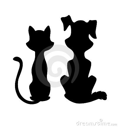 400x430 Cat And Dog Silhouette Clipart Panda