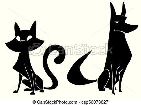450x337 Cat And Dog Silhouettes. Full Length Illustration Of The Vector