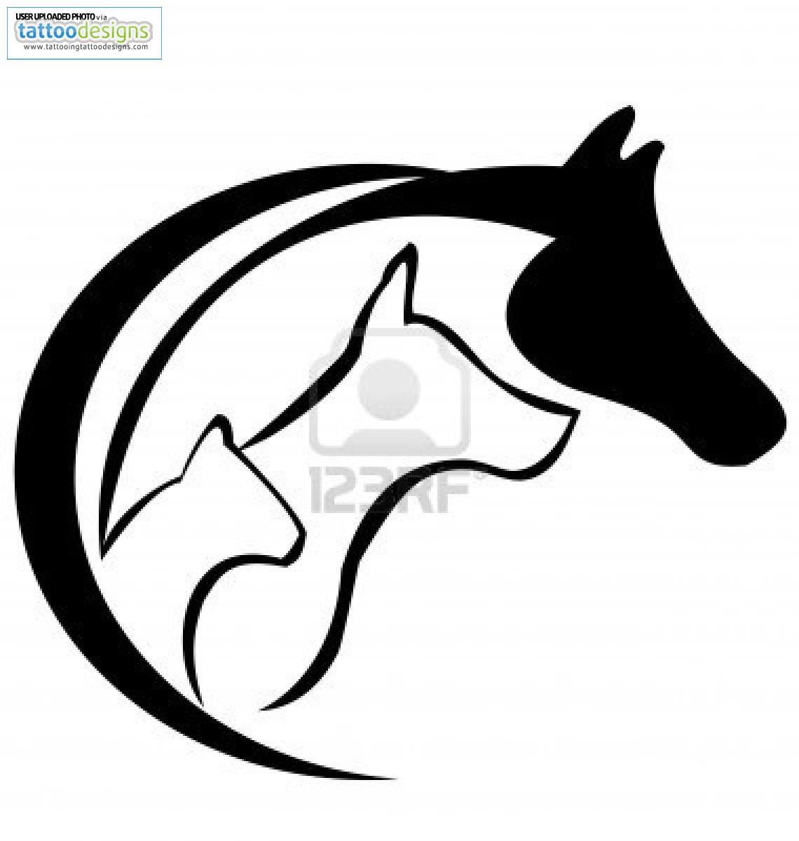 Cat And Dog Silhouette Tattoo At Getdrawings Com Free For Personal
