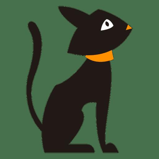 512x512 Black Cat Silhouette Sitting
