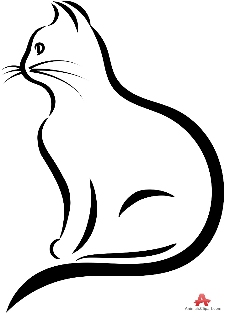 717x999 Cat Outline Clipart Free Collection