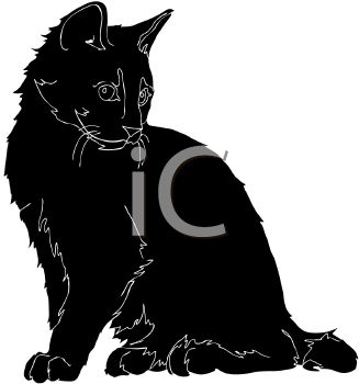 327x350 Picture Of Silhouette Of Cat Sittingnd Looking Down In