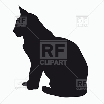 400x400 Black Silhouette Of Sitting Cat Royalty Free Vector Clip Art Image