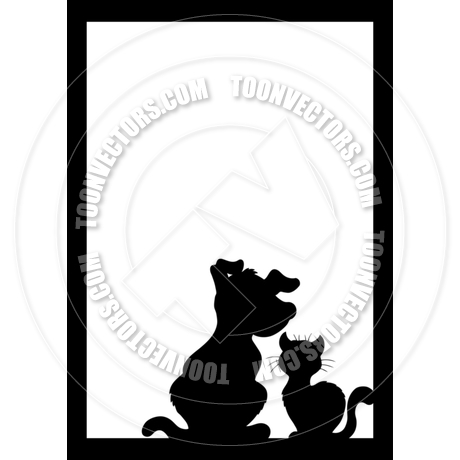 460x460 Cartoon Frame With Cat And Dog Silhouette By Clairev Toon