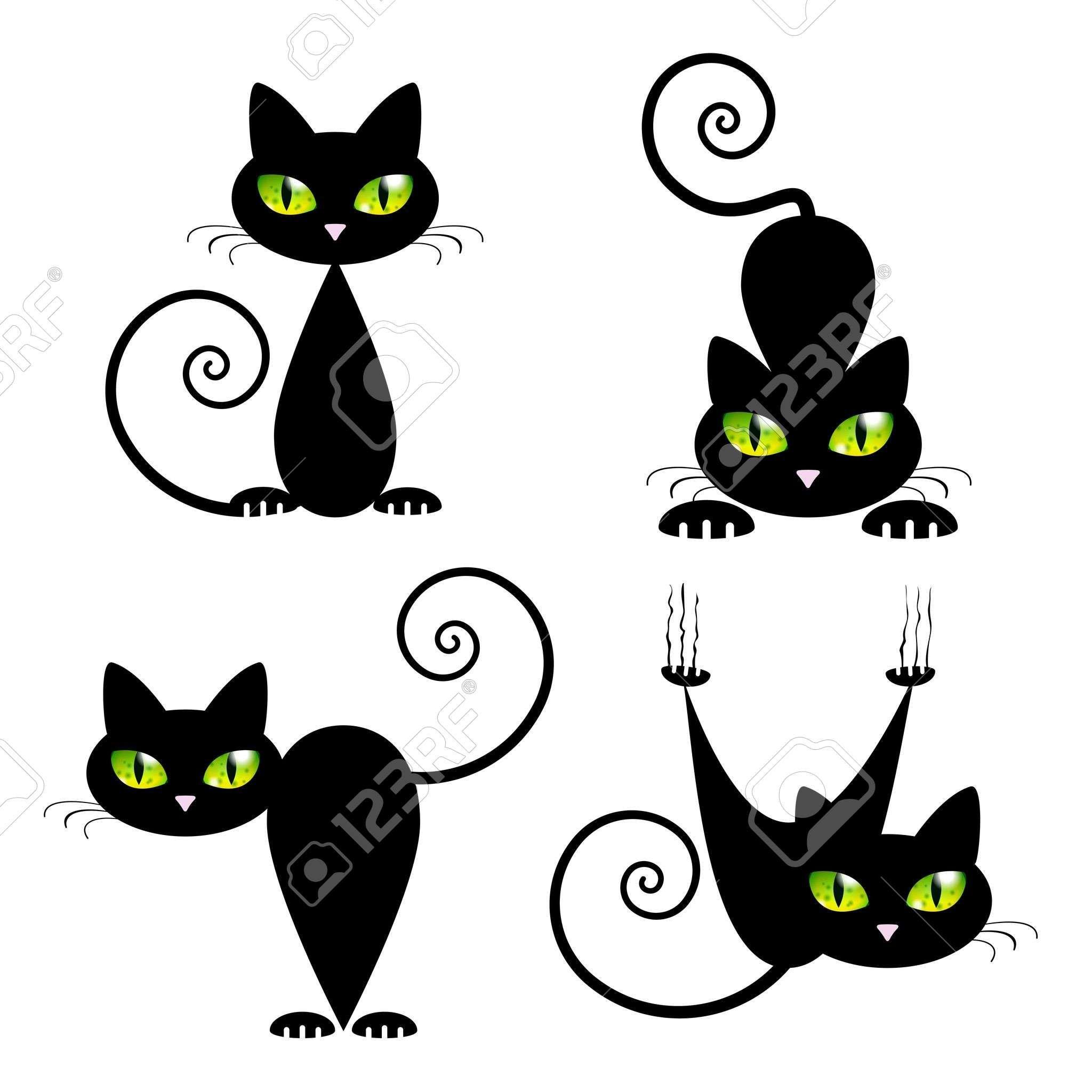 2048x2048 Black Cat With Green Eyes Vector Illustration Blanco Y Negro