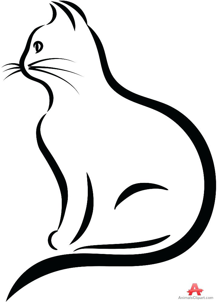 717x999 Silhouette Cat Vector Black Outline Oriental Stock Vector