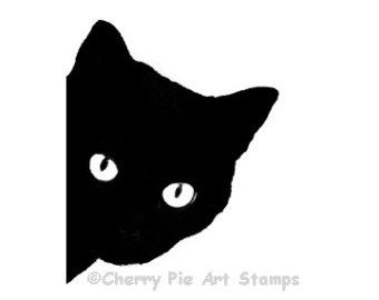340x270 Black Cat Rubber Stamp Silhouette Cat Face Cling Rubber Stamp By