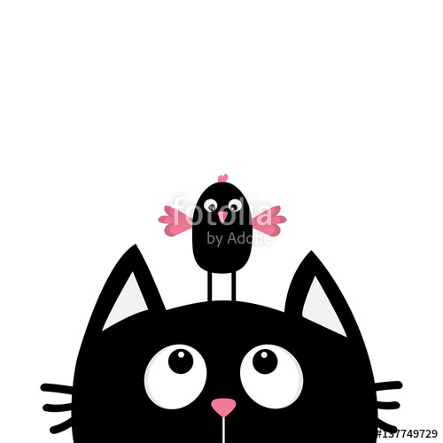 500x500 Black Cat Face Head Silhouette Looking Up To Funny Bird. Cute