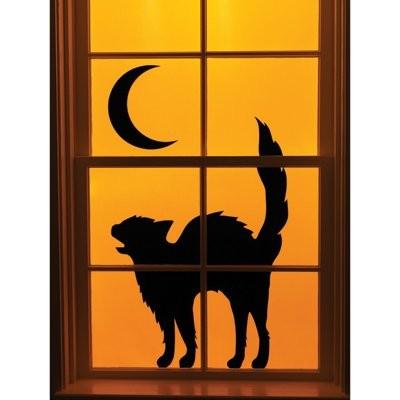 400x400 Halloween Window Black Cat Window Silhouette
