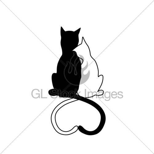 500x500 Vector Silhouette Of Cat Couple In Love With Shape Heart Gl