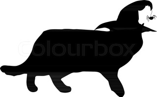 320x199 Black Silhouette Of Cat Watching Up Isolated On White Background