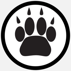 300x300 Monochrome Icon Foot Print Animal. Silhouette Cat Paw, Animal Pet