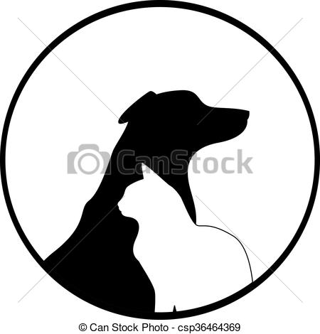 450x470 Composition Of Dog And Cat Silhouettes. The Symbol Can Be Clip