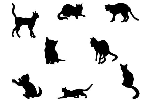 500x350 Cats Silhouette Vector
