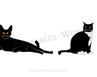 340x270 Silhouette Two Cat Etsy