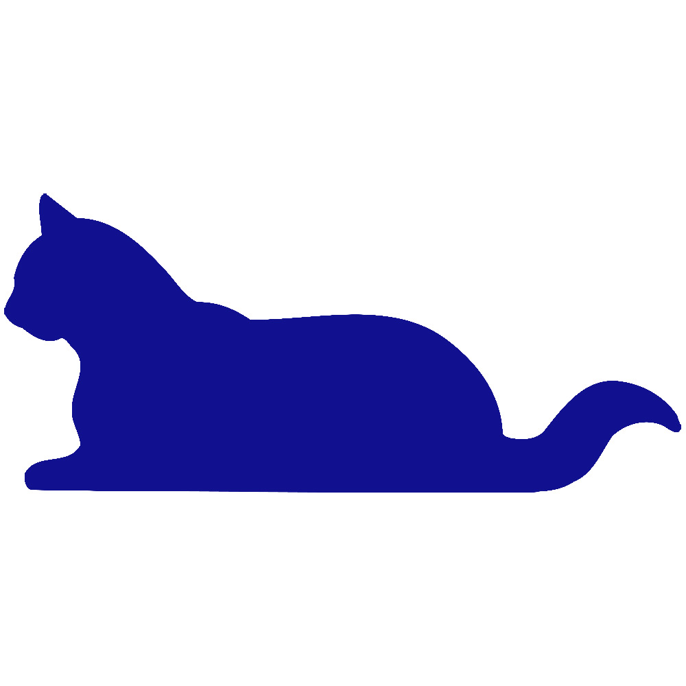 1000x1000 Blue Silhouette Cat Clipart