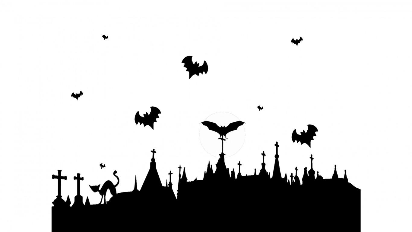 1366x768 Cat And Bats Halloween 4k Wallpaper Free 4k Wallpaper