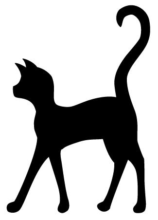 325x452 Sitting Black Cat Silhouette