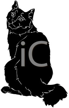 225x350 Picture Of A Silhouette Of A Cat Sitting Looking Over It'S