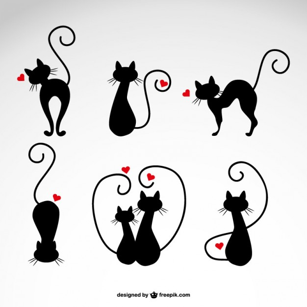 626x626 In Love Cats Silhouettes Vector Free Download