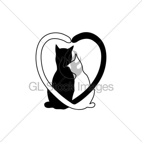 500x500 Silhouette Of Cat Couple In Love With Shape Heart Tails. Gl