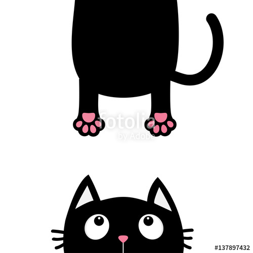 500x500 Black Cat Looking Up. Funny Face Head Silhouette. Hanging Fat Body