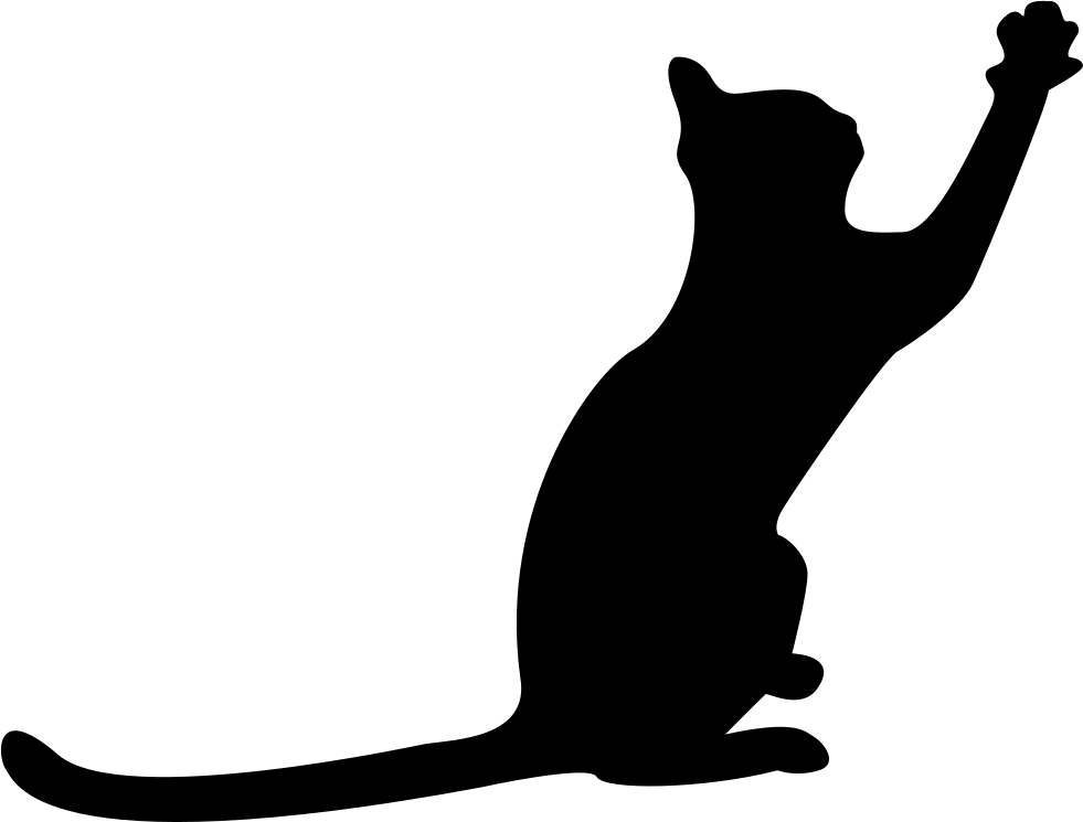 981x745 Cat Black Silhouette With Extended Tail And One Paw To Front Svg