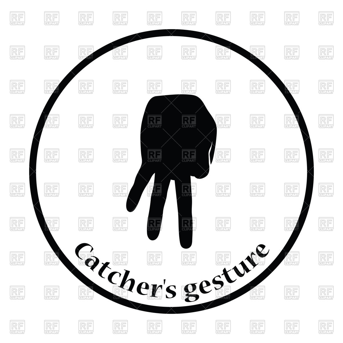 1200x1200 Silhouette Of Baseball Catcher Gesture Royalty Free Vector Clip