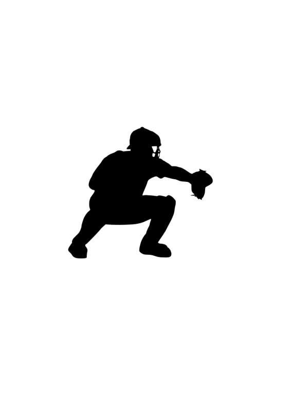 570x806 Baseball Catcher Svg Logo Outline Laptop Cup Decal Svg Digital